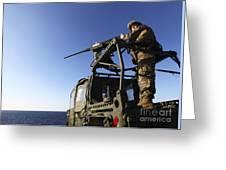 A Machine Gunner Mounts A M-2 Greeting Card by Stocktrek Images