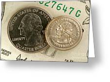 A Magnetically Shrunken Quarter Greeting Card