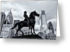 A Man A Horse And A City Greeting Card