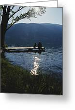 A Man And His Dog On A Lake Skaha Dock Greeting Card