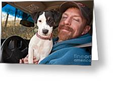 A Man And His Puppy In Wv Greeting Card