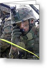 A Marine Communicates Over The Radio Greeting Card