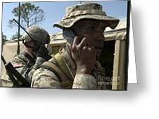 A Marine Communicates With Aircraft Greeting Card
