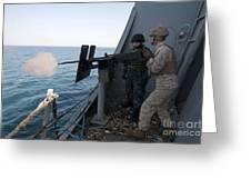 A Marine Fires A .50-caliber Machine Greeting Card