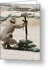 A Marine Hangs Dog Tags On The Rifle Greeting Card
