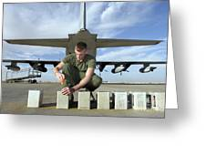 A Marine Replaces Flares In Flare Greeting Card