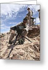 A Marine Sets Up A Laser Designator Greeting Card by Stocktrek Images