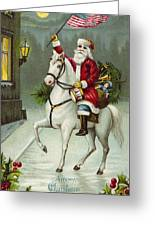 A Merry Christmas Card Of Santa Riding A White Horse Greeting Card