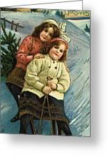 A Merry Christmas Postcard With Sledding Girls Greeting Card