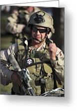A Military Reserve Navy Seal Gives Greeting Card