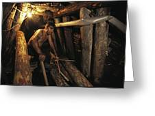 A Miner Works His Way Through A Jumble Greeting Card by Randy Olson
