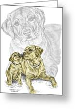 A Mothers Love - Labrador Dog Print Color Tinted Greeting Card