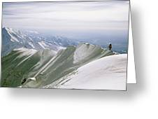 A Mountain Climber Hikes Greeting Card
