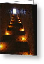 A Narrow Staircase Lit With Candles Greeting Card