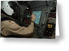 A Naval Flight Officer Tracks Aircraft Greeting Card