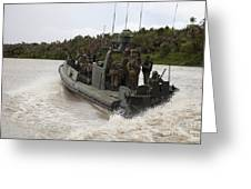 A Navy Riverine Patrol Boat Conducts Greeting Card