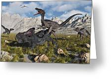 A Pack Of Velociraptors Attack A Lone Greeting Card