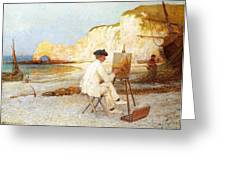 A Painter By The Sea Side Greeting Card
