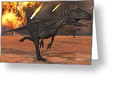 A Pair Of Allosaurus Dinosaurs Running Greeting Card