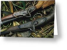 A Pair Of Old Flint-type Rifles Lying Greeting Card