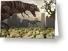 A Pair Of Tyrannosaurus Rex Explore Greeting Card