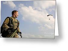 A Paratrooper Looks On As Other Greeting Card