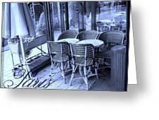 A Parisian Sidewalk Cafe In Blue Greeting Card by Jennifer Holcombe
