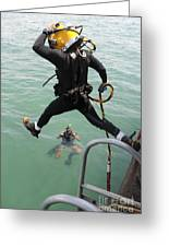A Photographer Documents A Navy Diver Greeting Card