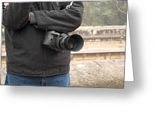 A Photographer With His Digital Camera On Location At A Historical Monument Greeting Card