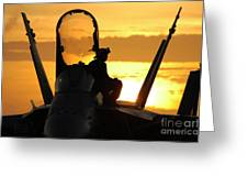 A Plane Captain Enjoys A Sunset Greeting Card