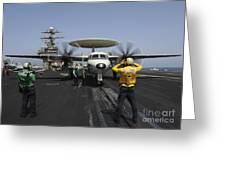 A Plane Director Guides An E-2c Hawkeye Greeting Card