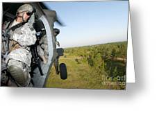A Platoon Sergeant Prepares To Land Greeting Card