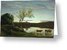 A Pond With Three Cows And A Crescent Moon Greeting Card