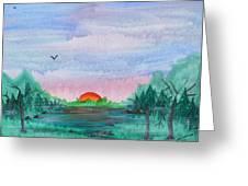 A Rainy Misty Sunrise Greeting Card