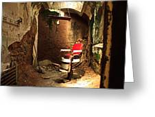 A Red Barber Chair In A Spotlight  Greeting Card
