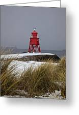 A Red Lighthouse Along The Coast South Greeting Card by John Short