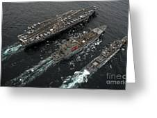 A Replenishment At Sea Between Uss Greeting Card