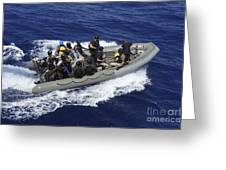 A Rigid-hull Inflatable Boat Carrying Greeting Card