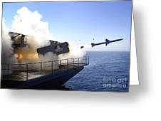 A Rim-7 Sea Sparrow Missile Launches Greeting Card
