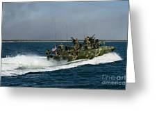 A Riverine Command Boat During Exercise Greeting Card
