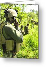A Riverine Soldier Radios In Mock Greeting Card