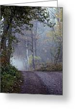 A Road Through A Misty Wood Greeting Card