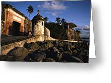 A Rocky Beach And Ancient Walls Line Greeting Card by Ira Block