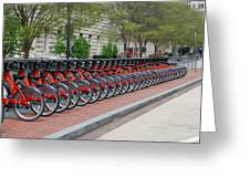 A Row Of Red Bikes Greeting Card