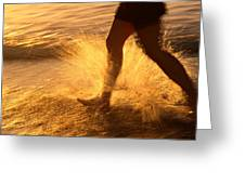 A Runner Splashing Through The Surf Greeting Card