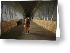 A Sadu Walks Through Rameswaram Temples Greeting Card