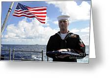 A Sailor Carries The National Ensign Greeting Card