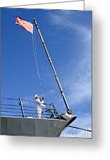 A Sailor Lowers The U.s. Navy Jack Greeting Card