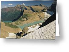 A Scenic View Of Lakes In Glacier Greeting Card
