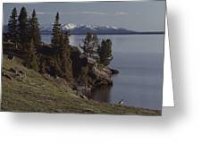A Scenic View Of Yellowstone Lake Greeting Card